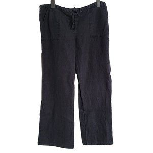 TOMMY JEANS Black Loose Fitting Linen Pants XL